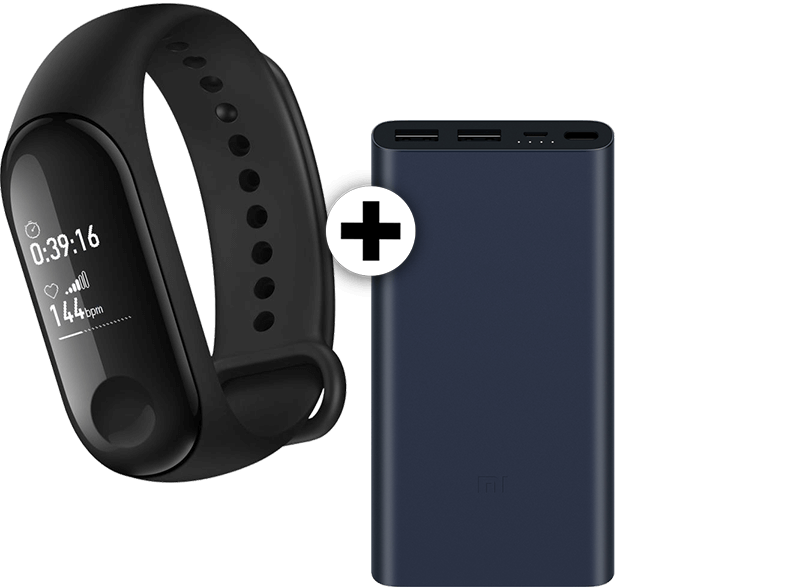 XIAOMI MI Band 3 μαζί με Xiaomi Power Bank 2S Black